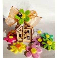 BT 03 - battesimo - Scatolina legno vasetto miele fiore primavera