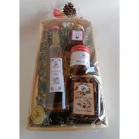 cesto regalo in legno con grappa al miele, confettura, miele, tisana - grande