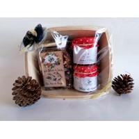 cesto regalo in legno con miele, tisana - piccolo