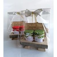 confezione regalo panchetta in legno con 2 vasetti miele trentino