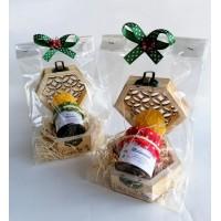 confezione regalo scatolina in legno con 1 vasetto miele e candelina - small