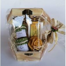 confezione regalo scatolina in legno con 2 vasetto miele e candelina
